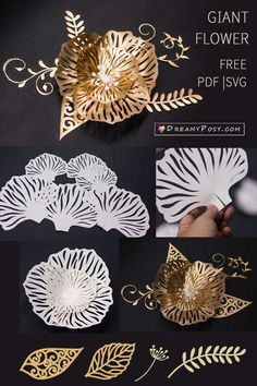 Paper flowers crafts, FREE templates and picture tutorial Paper crafts flowers free tutorial and templates Paper Flowers Craft, Giant Paper Flowers, Flower Crafts, Diy Flowers, Flower Paper, Flower Diy, Flower Ideas, Toilet Paper Flowers, 3d Paper Crafts