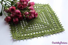 Green doily Crochet doily Square crochet doily by CrochetbyMariana