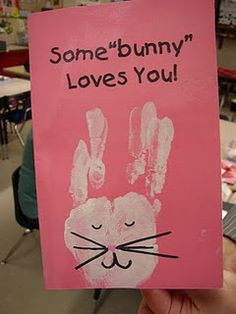 This totally reminds me of a card my older brother made for me when I was in kindergarten (it had thumb-print bunnies), and I thought it was the sweetest thing in the world.