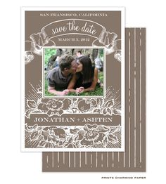 Prints Charming Paper | Save The Date | Vintage Save the Date Digital Photo Card (P.Charming) | The PrintsWell Store