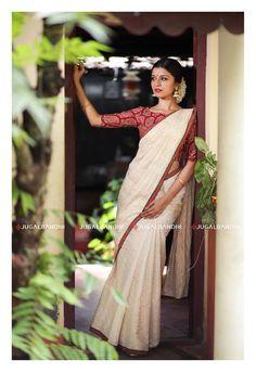 Discover recipes, home ideas, style inspiration and other ideas to try. Onam Saree, Kasavu Saree, Kerala Saree Blouse Designs, Blouse Designs Silk, Set Saree, Saree Poses, White Saree, Saree Photoshoot, Stylish Sarees
