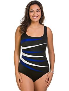 531c1d6d9ca73 Longitude Woman's Colorblock Fan Tank One Piece Swimsuit: Soft Cup Bra  Scoop Neckline Fixed Straps Moderate Leg Cut Shell/Detail: Nylon, Spandex;