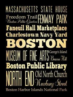 Boston Massachusetts Typography Art Poster