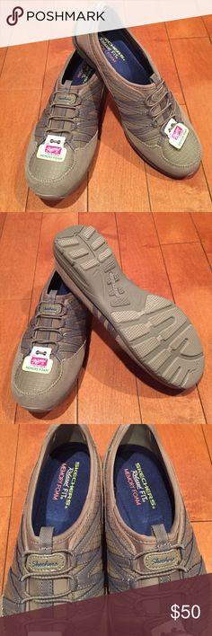 Skechers relaxed fit with memory foam Relaxed fit memory form sketchers. Start the new year out right in comfort! Tan colored. Size 9. Skechers Shoes Athletic Shoes