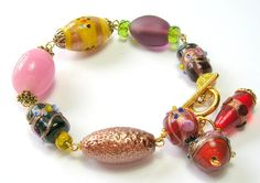 Richly Colourful Indian Glass Bead Bracelet by SwankyJewels, €48.00