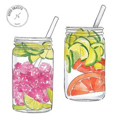 Good objects - @detoxwater Fresh fruits infused water -Raspberry + cucumber + lime / Cucumber + orange #goodobjects #illustration