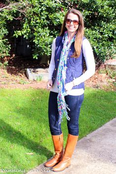 Lilly Navy Vest & Floral Scarf for Fall/ Winter | Running in a Skirt