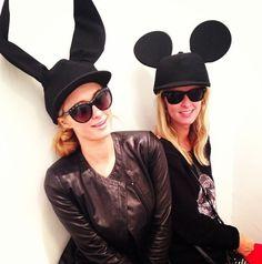 Paris Hilton, Nicky Hilton try on Comme Des Garçons hats Hilton Family, Cat Eye Sunglasses, Round Sunglasses, Ear Cap, Nicky Hilton, Animal Ears, Paris Hilton, Queen Of Hearts, Try On