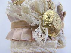 Victorian Lace and Ruffles Cuff Bracelet Tutorial {NO sew}