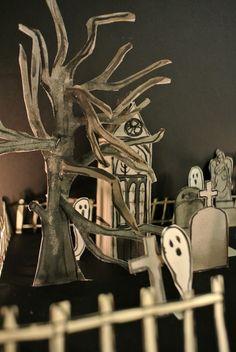 Le blog de Gabrielle Aznar: Le cimetière en papier ♦ DIY Papier Diy, Diy Paper, Decoration, Cemetery, Scene, Diy Halloween, Cas, Blog, Home Decor