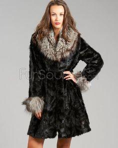 Sculptured Fur Coat - Mink Fur with Silver Fox Fur Collar