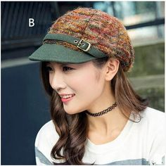 Fashion stripe newsboy cap for women warm winter knit hat