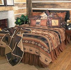 Rustic Cabin Lodge Bedding Set Deer Bear Autumn Trails Twin Queen King in Home & Garden, Bedding, Comforters & Sets | eBay