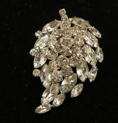 Juliana Double Layer Vintage Rhinestone Pin Brooch All Clear Rhinestones $55.00