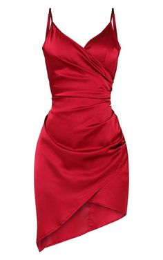Shape Burgundy Satin Wrap Dress - - Blessed with a body like an hourglass? PLT Shape is designed with you in mind,… Source by margretgil Hoco Dresses, Satin Dresses, Pretty Dresses, Beautiful Dresses, Wrap Dresses, Gowns, Flower Dresses, Red Wrap Dress, Red Satin Dress Short