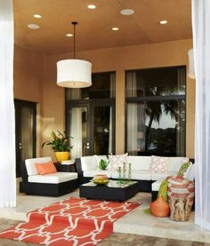 Contemporary Patio with Woven african basket tangerine, exterior stone floors, Transom window, Pathway, French doors Outdoor Rooms, Outdoor Living, Outdoor Furniture Sets, Outdoor Decor, Outdoor Patios, Outdoor Ideas, Patio Design, Exterior Design, House Design