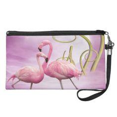 Shop Whimsical Wonderland Pink Flamingos Wristlet Purse created by GroovyGraphics. Personalized Tote Bags, Personalized Items, Pink Bird, Pink Flamingos, Cos, Whimsical, Wonderland, Girly, Purses