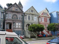 Bright landmark San Francisco Victorian houses Painted Ladies