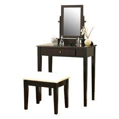 Mega Home Contemporary Vanity Set with Mirror Finish: Espresso