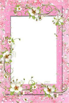 Marco rosado PNG transparente con flores