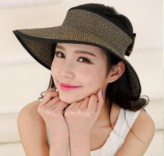 2dcba77afbe Wide brim visor hat with bow for women straw uv sun protection hats
