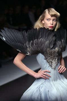 "A dress from Spring/Summer 2008 ""La Dame Bleue"" shows the bird designs tht inspired McQueen. He has made a beautiful cape that resemble an extended set of wings. I could perhaps incorporate some of the feathers that I made into the final outcome."