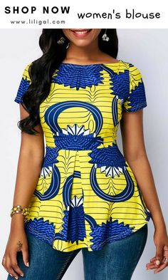 Boat Neck Printed Short Sleeve Blouse Source by The post Boat Neck Printed Short Sleeve Blouse – African Fashion Dresses appeared first on 2019 Trends. African Fashion Ankara, African Fashion Designers, Latest African Fashion Dresses, African Dresses For Women, African Print Dresses, African Print Fashion, Africa Fashion, African Attire, African Wear