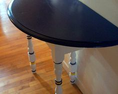 Items Similar To SOLD   Shabby Chic Style Painted Half Moon Table On Etsy