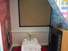 Victorian role play area with fire, wallpaper and grandfather clock Role Play Areas, Display Boards, Grandfather Clock, Victorian Christmas, Year 2, Old Toys, Victorian Homes, Attic, School Ideas