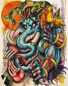 Finished this big wrathful Ganesha tonight. Lots of fun. (at Memento Tattoo & Gallery) Memento Tattoo, Digimon Tattoo, Koi Tattoo Sleeve, Cute Monsters Drawings, Japan Tattoo Design, Neo Tattoo, Drawing Superheroes, Scale Tattoo, Geisha Art