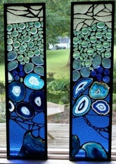 Agate stained glass panels: