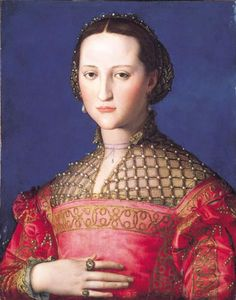 1543 Eleonora de Toledo by Bronzino  Bronzino portrayed Eleonora de Toledo in 1543 in a red satin dress, a Bronzino trademark, with a jeweled net partlet, an Eleonore de Toledo trademark. She is credited with being the first modern style first lady, or consort.  Her partlet is simply open net with pearls at the junctions of the net.