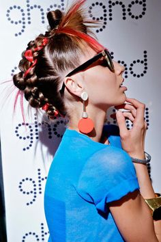 audrey kitching, ginger and smart, fashion show, neon hair, rebel hair, neon