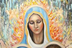 Virgin Mary apparition in Fatima original oil painting on canvas, Children of Fatima painting, Portuguese miracle painting, christian art Original Paintings, Original Art, Oil Paintings, Oil On Canvas, Canvas Art, Horse Portrait, Christian Art, Virgin Mary, Our Lady