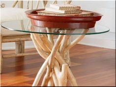 wood and glass side table Twig Furniture, Natural Wood Furniture, Furniture Ideas, Furniture Design, Glass Side Tables, Glass Table, Driftwood Table, Branch Decor, Wood Creations