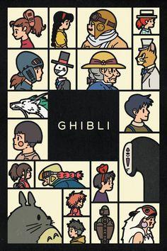 Poster de personajes del estudio de animación Ghibli. Arte por el equipo de diseño gráfico canadiense Komboh (vía Geek Art). Ghibli Animation Studio characters.