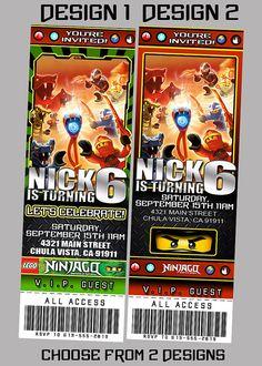 Lego Ninjago Birthday Party Ticket Invitations