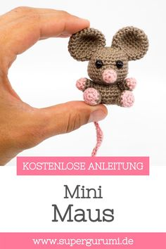 Crochet Animal Patterns, Stuffed Animal Patterns, Crochet Patterns Amigurumi, Crochet Dolls, Knitting Patterns, Crochet Animals, Crochet Mouse, Crochet Baby, Crochet Crafts