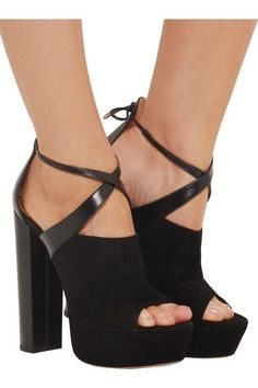 Aquazzura - Kaya Leather And Suede Platform Sandals - Black - IT39.5