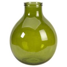 """Add a splash of citrus to your living room or bedroom with this spring-ready vase.Product: Vase    Construction Material: Recycled glass    Color: Green     Features: Beautiful design   Earth-friendly accent               Dimensions: 18.25"""" H x 14.75"""" Diameter"""
