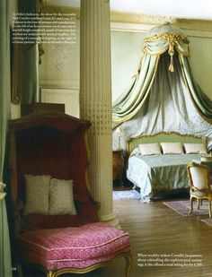 Private apartment at Chateau de Chalais, established as a Paris museum in 1875 by Nelie Jacquemart in the Louis XVI empress style. World of Interiors sept 2011