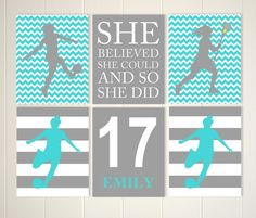 Soccer girl, lacrosse girl wall art, sports room decor, gift for teen girl, girls wall art, set of 6, choose your colors and sports by PicabooArtStudio