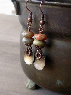 Autumn Jasper earrings - copper and brass earrings - textured metal earrings