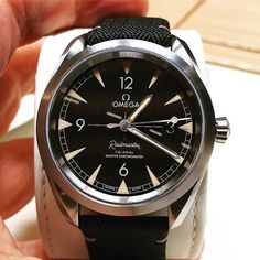 """Basel Friday reveals; Omega's reluctant star? This unlimited edition 40mm Railmaster doesn't feature in the official releases but was there in the metal as the brand's new """"entry level Master Chrono for young people."""" Good luck telling that to older enthu"""