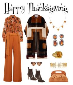 """Happy Thanksgiving"" by karen-galves ❤ liked on Polyvore featuring J.Crew, WithChic, CÉLINE, Gabriela Hearst, Santoni, Michael Kors, Sonia B. and Kamushki"