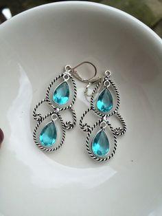 Blue Topaz Quartz statement earrings - November Birthstone
