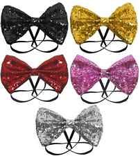 Fancy Dress Glitter Sequin Sheen Bow Tie Costume Party Dicky Dickie Elasticated