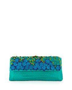 Floral Crocodile Back-Pocket Clutch Bag, Green Multi - Nancy Gonzalez