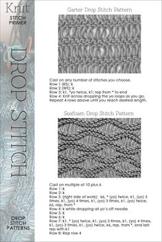 Drop Stitch #knitting - Many knitting stitch patterns and videos. DiaryofaCreativeFanatic