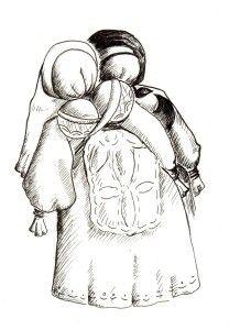Lalka Przejścia. Jest to Tradycyjna Białoruska Lalka Obrzędowa – symbol przemiany młodej dziewczyny w żonę.Lalka ta była dawana kobietom przygotowującym się do wyjścia za mąż. .  rys. Mateusz Świstak